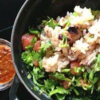注文ごとに炊くお米料理。山形県新庄の在来種、幻のお米『さわのはな』。