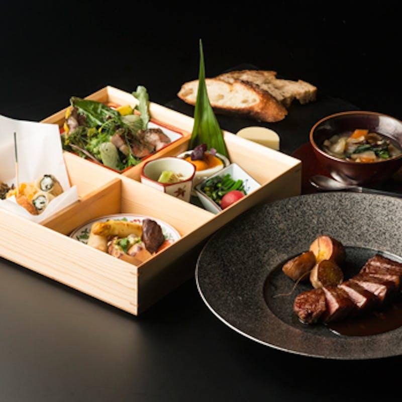【洋食】和洋折衷箱盛前菜付 洋食ランチ(メイン:黒毛和牛の炭火焼き)