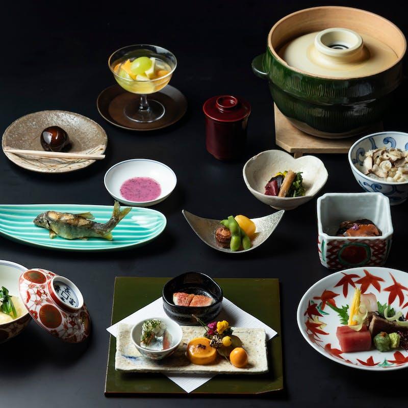 【和食】菊水会席 全9品+シャンパンを含む1ドリンク(庭園を眺める個室確約)