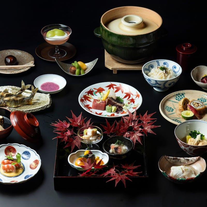 【和食】菊水会席 全10品+シャンパンを含む1ドリンク(庭園を眺める個室確約)