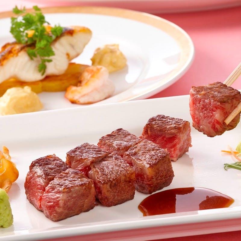 【ランチコース】ステーキと魚料理のWメイン、前菜、デザートなど全6品(黒毛和牛ロース)