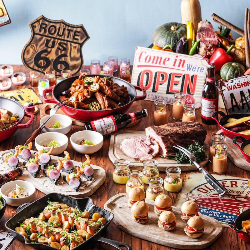 【平日アメリカンブッフェ】ロコモコ丼やミニチーズバーガー等+乾杯酒+メッセージプレート(記念日等に)