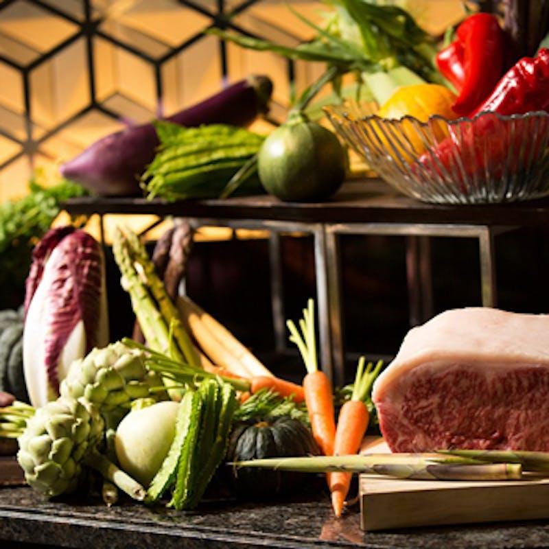 【土日祝限定贅沢和牛ディナーコース】鮮魚のグリル、料理長特選和牛など+乾杯ドリンク+フォアグラ
