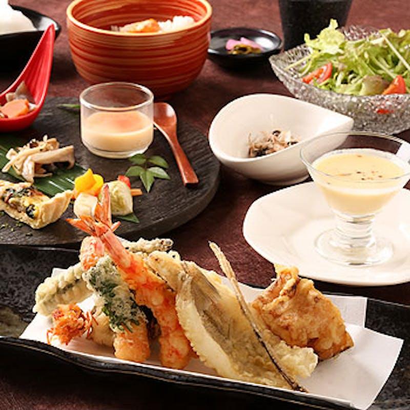 【お気軽コース】活車海老含む天麩羅9種、オードブル3種、スープ、デザートなど全6品(1日1組限定)