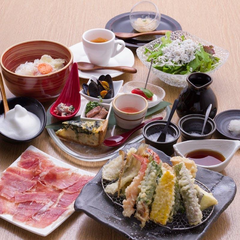 【厳選食材の天ぷら9種コース】全7品+選べる1ドリンク+天麩羅1種