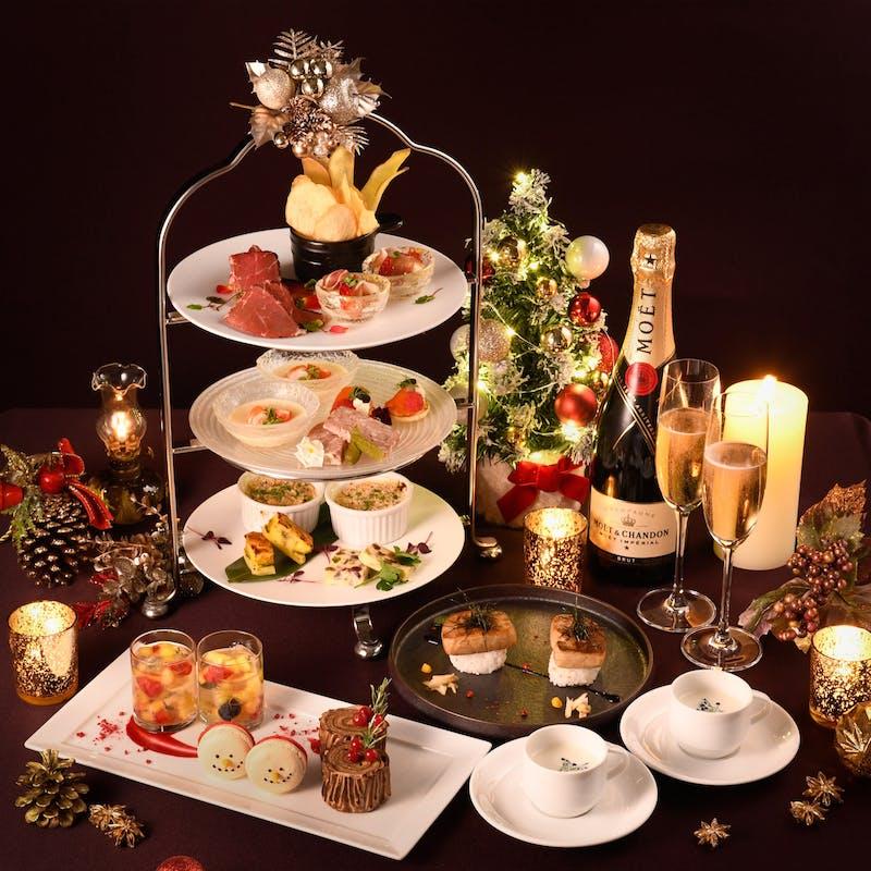 【クリスマスハイティーセット】大人気フォアグラ寿司付き+アルコール2杯付き(火曜水曜限定開催)