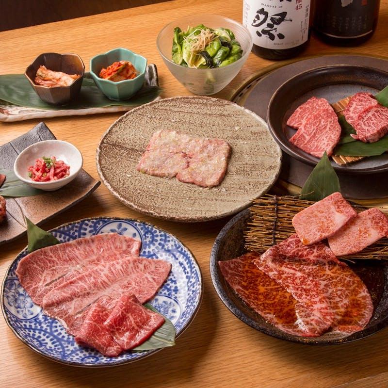 【旅亭コース】塩焼肉2種・ザブトンの炙り焼きなど全10品+1ドリンク,無料デザートプレート(個室確約)