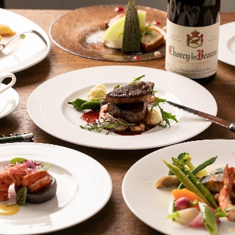 【Bコース】魚&特選黒毛和牛など全7品+シャンパン含む1ドリンク+デザートグレードUP