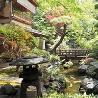 門をくぐり、石畳の階段を抜ければ、緑豊かな日本庭園が目の前に