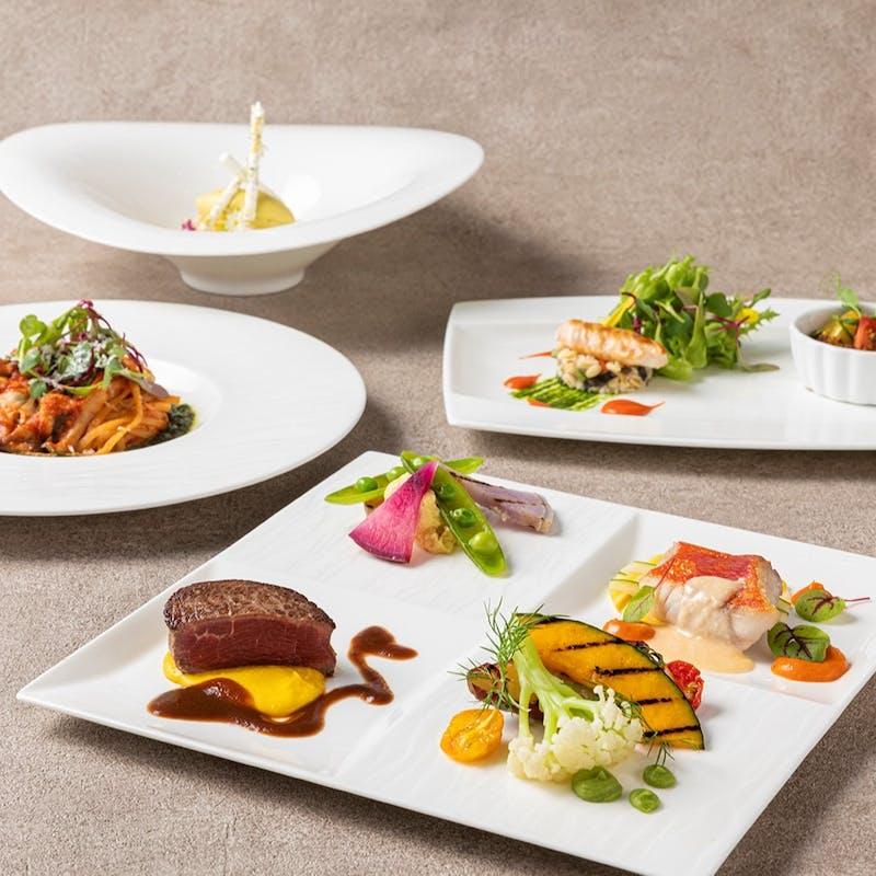 【Garden】前菜&パスタ、メインは魚料理・肉料理を盛り合わせ 全5品コース