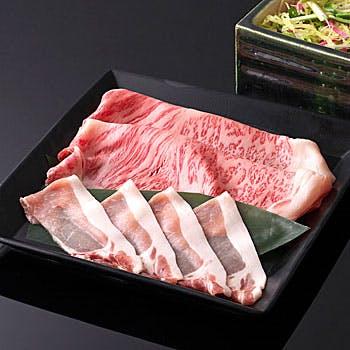 【個室確約】牛豚食べ比べ!日本三大ブランド・近江牛と上州麦豚を両方楽しむ蒸しゃぶコース