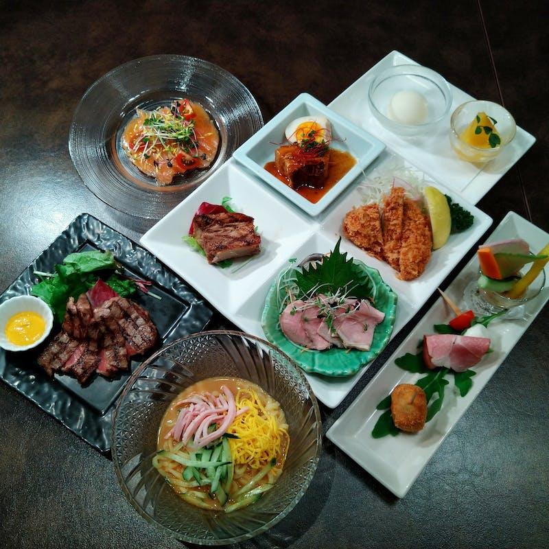 【やまとコース】やまと豚の前菜・特選4種盛合せ・サーロインステーキなど全6品+選べる1ドリンク