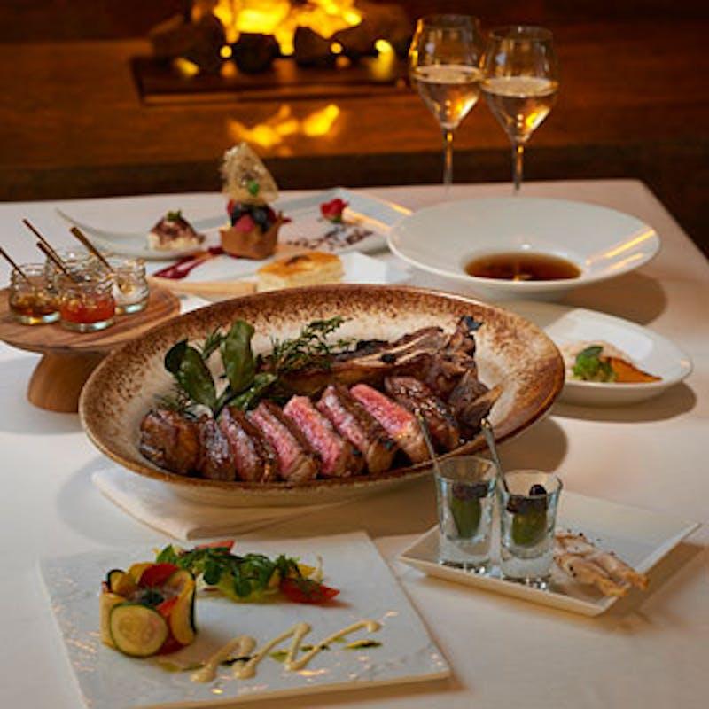 【BISTECCA Dinner Course】骨付きサーロインのビステッカ180g含む全6品+乾杯シャンパン