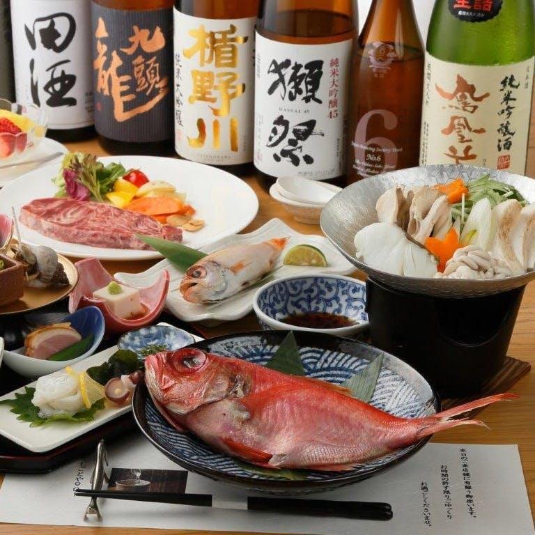素材にこだわった本格和食と全国47都道府県100種以上の日本酒