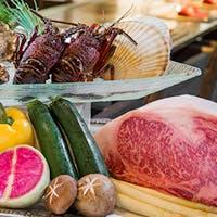 松阪牛や旬の魚介を目の前で調理