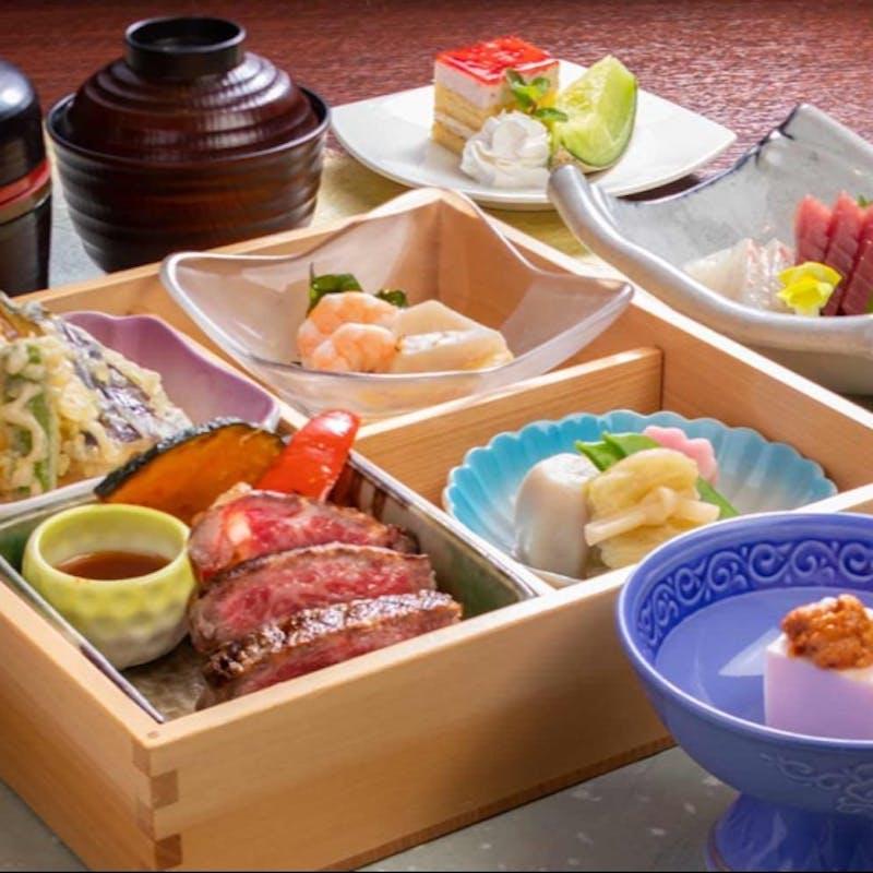 【松花堂弁当セット】山形牛ステーキや季節のご飯、特製粕汁など+1ドリンク