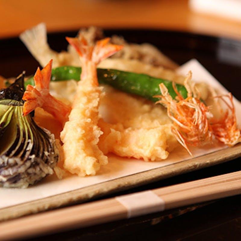【雪コース】魚介や野菜含む天ぷら8種など全6品