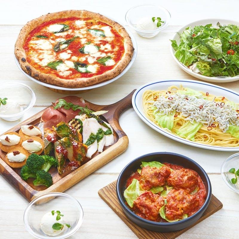 【カジュアル】前菜5種盛や人気No.1マルゲリータも。気軽にコースを全6皿10品+1ドリンク