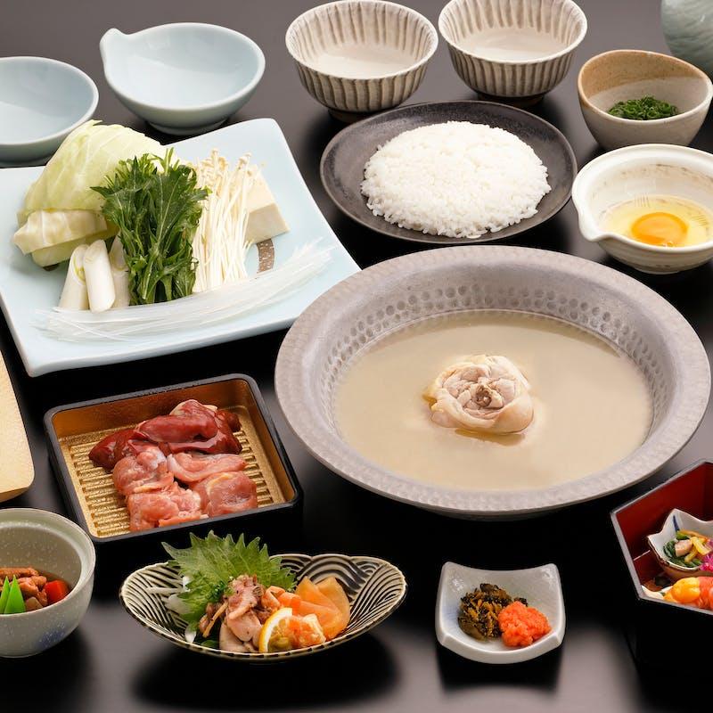 【匠の宴】メインの華味鳥水たきや本日のお刺身2種盛り・旬の逸品・甘味など