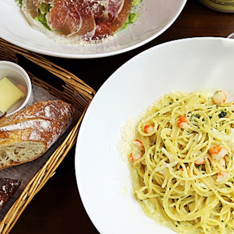 【B course】ソフトドリンク付!前菜盛り合わせ、お好みのパスタ&メイン、デザート 全4品