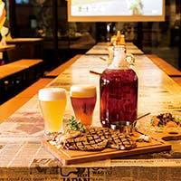 当店のオリジナルビール「那須高原ビール」「尾張千種ビール」を含めた6種の生ビール