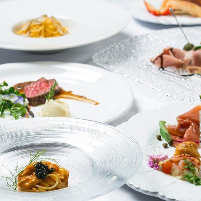 【豪華ランチフルコース】名物ラヴィオリ、イタリア産キャビア、A5薩摩黒牛フィレ肉ロースト+1ドリンク
