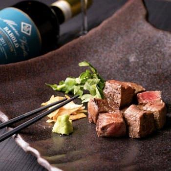 【スパークリング含む1杯付】仙台牛赤身&タンステーキや海鮮など!全国厳選食材を2人で愉しむペアコース