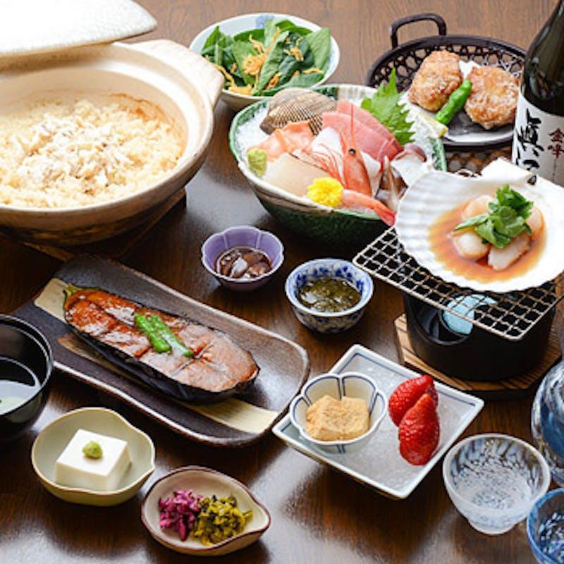 【月コース】お造り、ステーキ、煮物、お食事など全8品+スパークリング含む選べる1ドリンク
