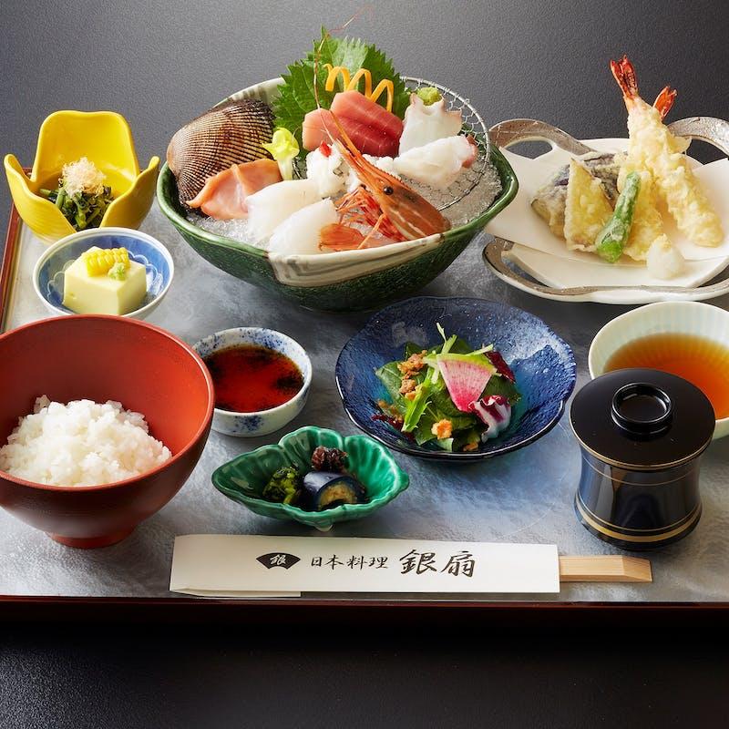 【銀扇御膳】お刺身や天ぷら、小鉢3種など全4品+食後のコーヒー