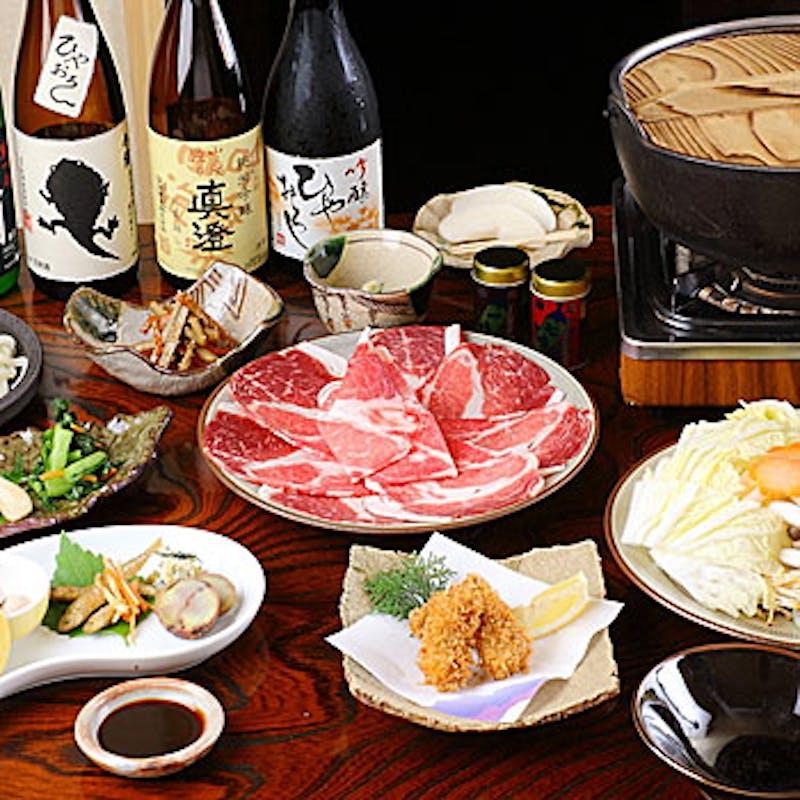 【信州コース】しし鍋、合鴨鍋、馬しゃぶしゃぶ、さくら鍋から選べる特製鍋~全7品~