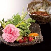 伝統和食器に盛りつけられた少量多皿のお任せコースをご提供
