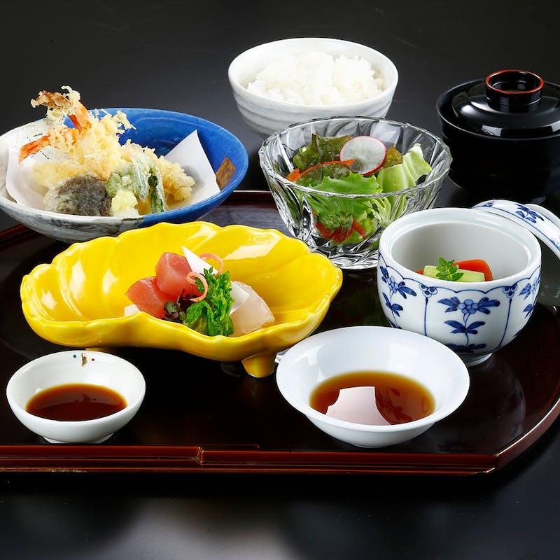 【和定食】お刺身、天婦羅など全6品+日本酒含む選べる1ドリンク