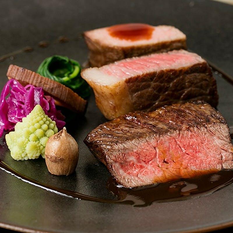 【厳選ステーキ3種コース】牛タンシチュー・牛タン・PRIMEハラミなど 全6品+2ドリンク