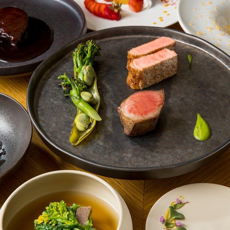 【Chef Simotai 秋のコース】肉刺し和牛サーロイン・熟成牛タン&シャラン産鴨の炭火焼ステーキ全8品