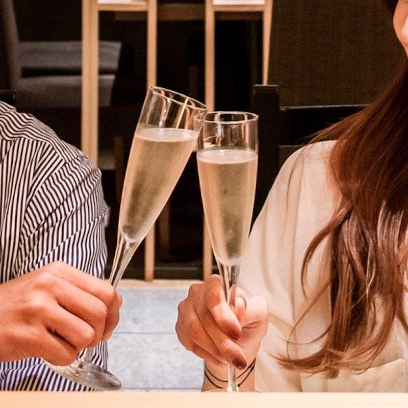 【顔合わせにおすすめ】牛ミニステーキ、天麩羅が楽しめる和会席+乾杯シャンパン(テーブル個室:鶉)