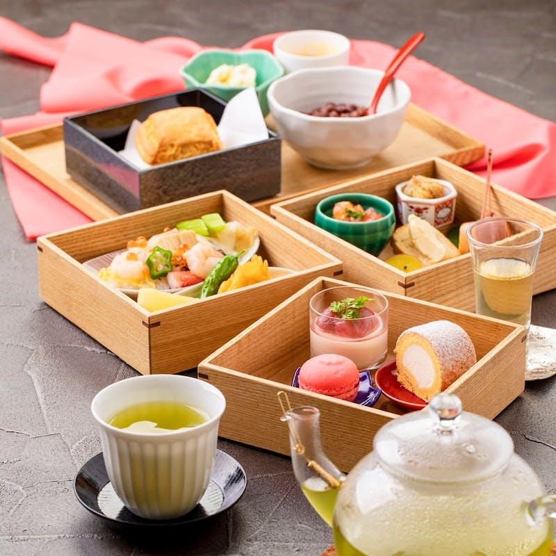 【和のアフタヌーンティー】お茶と和スイーツなどを堪能!+スパークリングも選べる乾杯酒付(テーブル席)