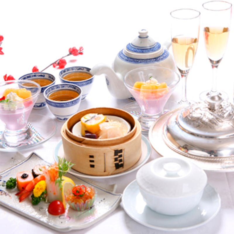 【点心飲茶】海老チリ・揚げ点心 全7品+食後のコーヒー