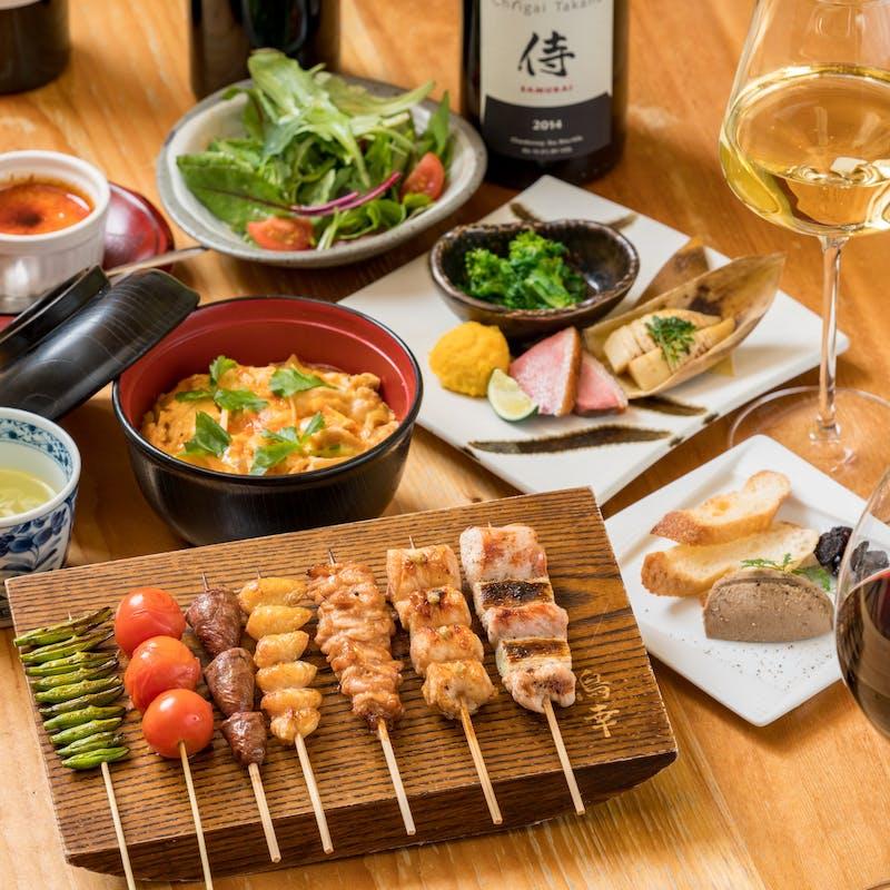 【竹コース】おすすめ串と逸品に〆のお食事つき6品+クラフトビールや日本酒を含む充実の2時間飲み放題
