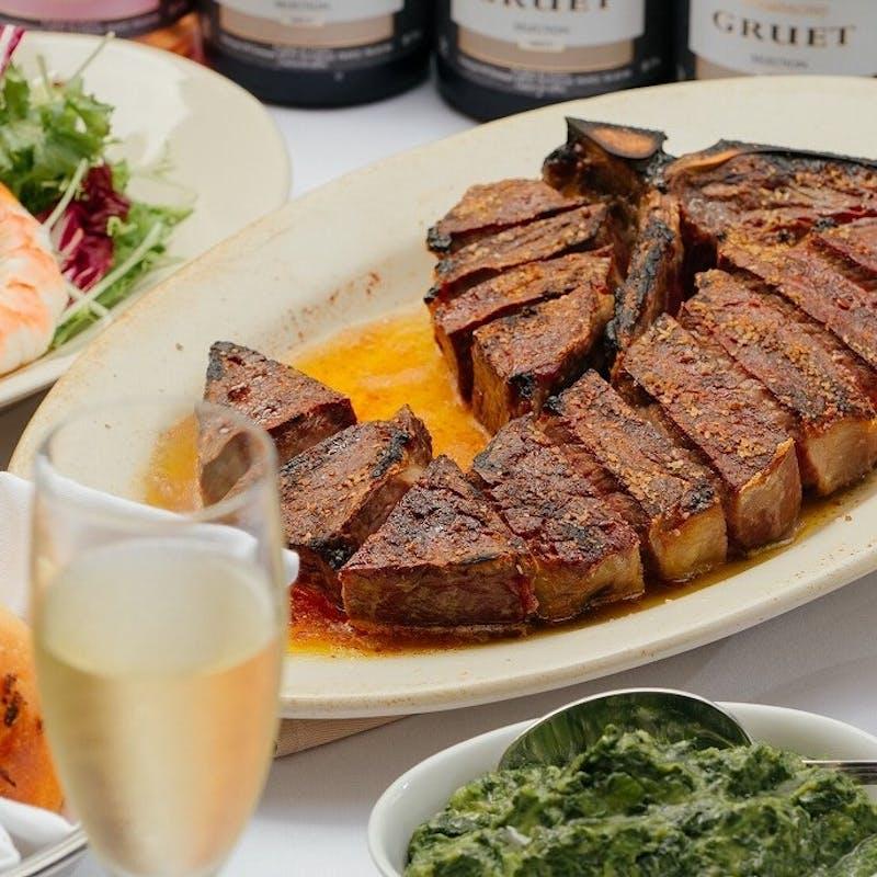 【贅沢コース】乾杯シャンパン付!Tボーンステーキのメイン含む全5品(11月30日まで)