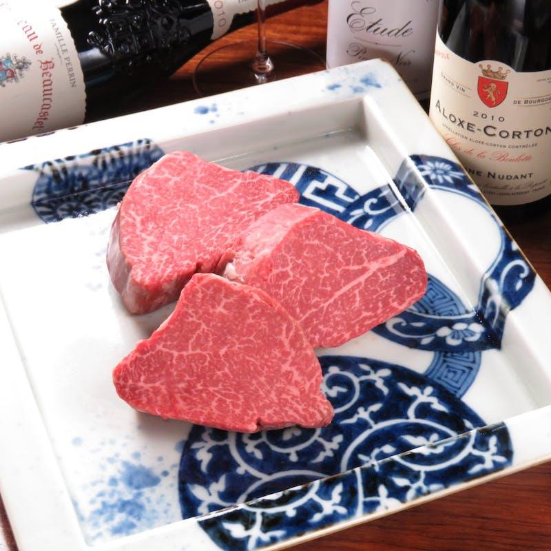 【黒毛和牛シャトーブリアンステーキコース】神戸牛の向付、デザートなど全7品