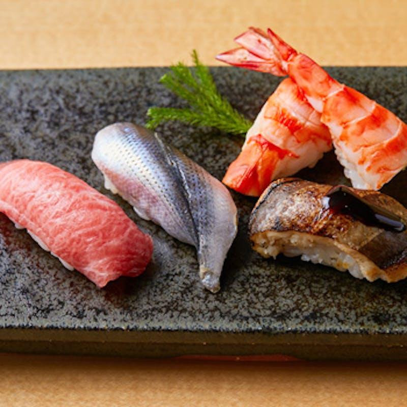 【寿司と黒毛和牛会席】選べるワンドリンク付き(全6品/和牛すき焼き陶板・個室確約)