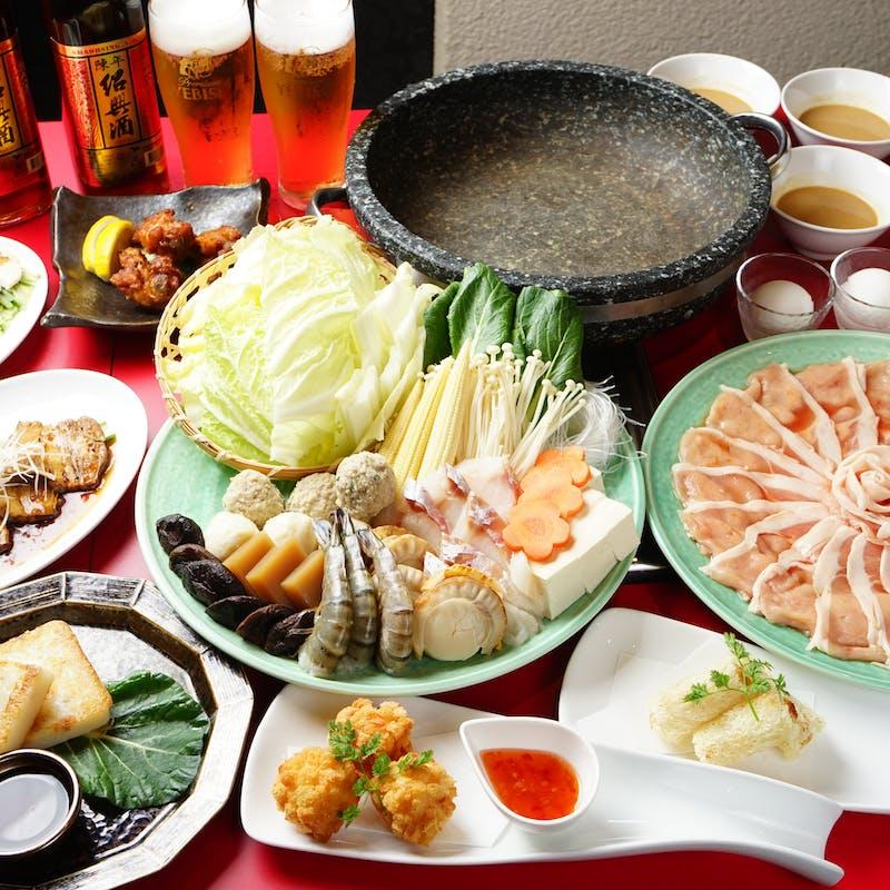 【松・健鍋コース】名物石頭火鍋や台湾料理など全6品+120分飲放題/L.O.30分前