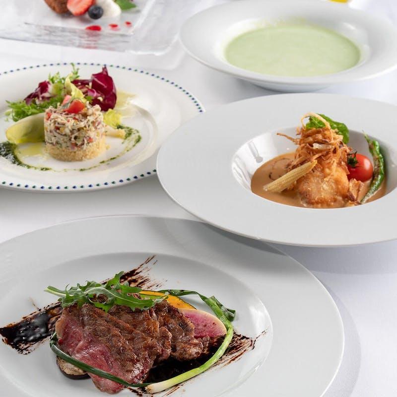 【シェフおすすめ】肉料理、魚料理も楽しめる・デザートプレート付きの全5品+ワンドリンク付
