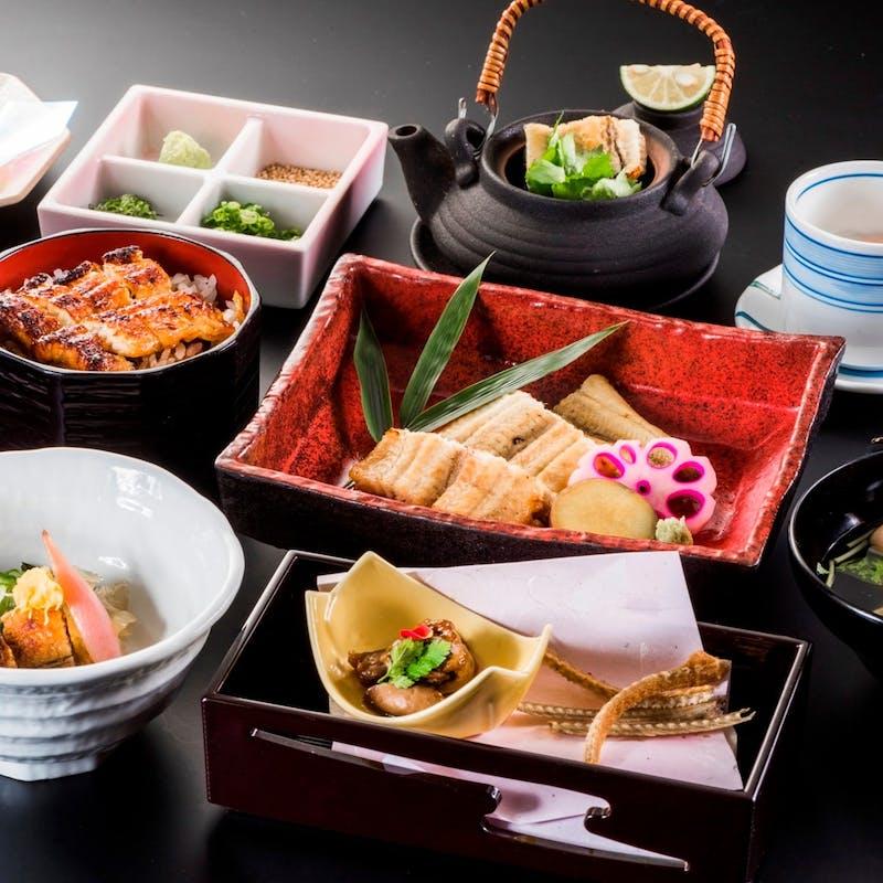 【会席料理】+【うなぎ会席】(うなぎ白焼き、ひつまぶしなど全7品)