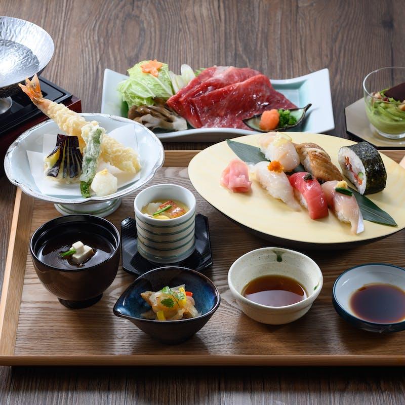 【彩御膳】国産牛しゃぶしゃぶ、天麩羅、お寿司の満腹御膳!