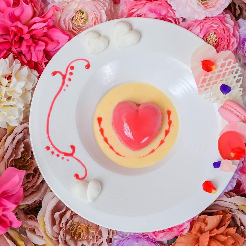 【記念日ペアディナー】ハート型デザート付 伊勢海老&神戸牛など+乾杯シャンパン+ケーキ+バラ21本花束