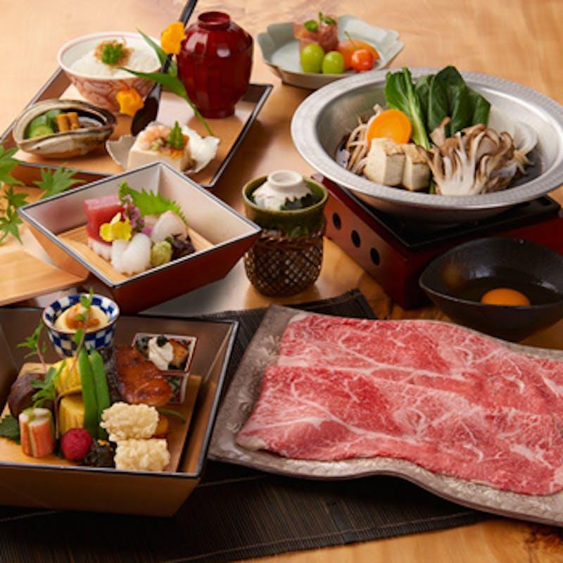 【柿安御膳】旬の前菜、しゃぶしゃぶorすき焼き、デザートなど(お肉は黒毛和牛)
