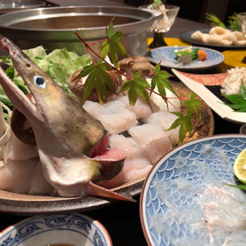 【鱧づくしコース】絶品の鱧鍋、鱧落とし、薄造り、炭火焼など、淡路の鱧など全6品