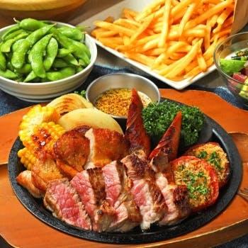 【HAWAIIAN BBQ SET】スパ含む2時間飲み放題!牛ロースステーキ ジャークチキン 粗挽きソーセージなど全7品