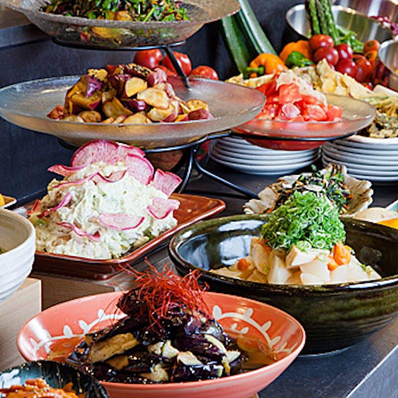 【土日限定】食べ放題プラン+2時間飲み放題(お野菜しゃぶしゃぶと2種類の豚肉)